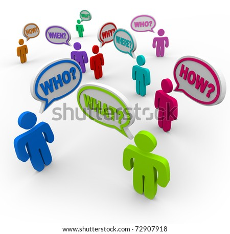 Many people talking at the same time, asking for help with words in speech bubbles - question words like who, what, where, when, why and how - stock photo