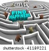 Many people try to find happiness through a deep maze - stock photo