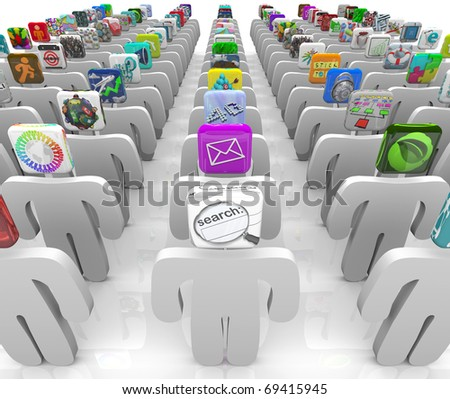 Many people with app tiles for heads stand in rows symbolizing the vast selection of the online software marketplace - stock photo