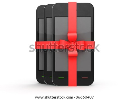 many phone presents on white background - stock photo
