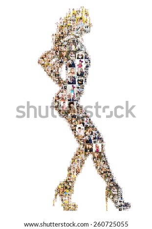 many photos create a dancing girl. Isolated - stock photo