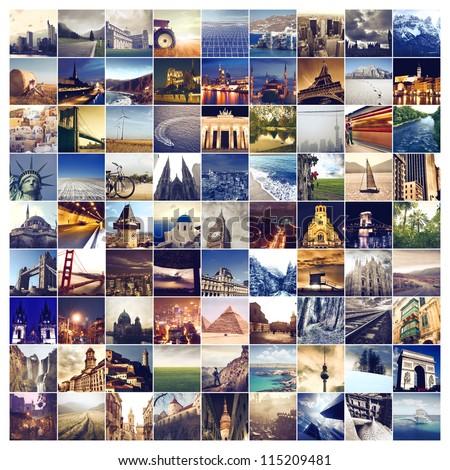 Many photos of many places around the world - stock photo
