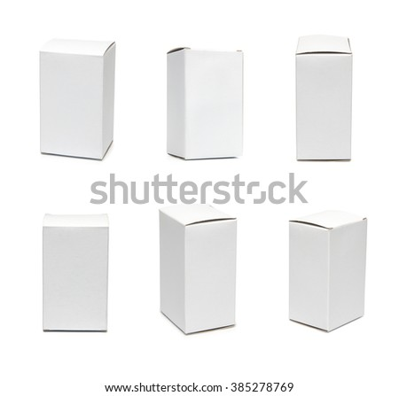 Many photos of white boxes, 6 in 1 set. White paperboard box isolated on white. Mockup of white box. Collection of closed  boxes. Template for retail design ready for your design - stock photo