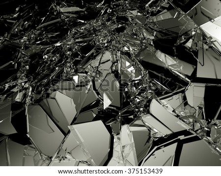 Many pieces of broken and Shattered glass on black. Large resolution - stock photo