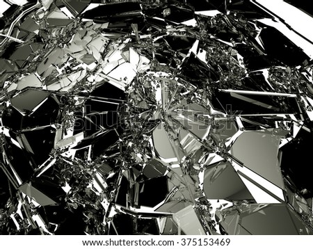 Many pieces of broken and Shattered glass on white. Large resolution - stock photo