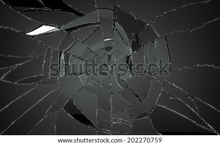 Many pieces of broken or Shattered glass. Large resolution - stock photo
