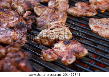 Many pieces of different kind of meat grilling on a barbeque grill. Selective focus. - stock photo