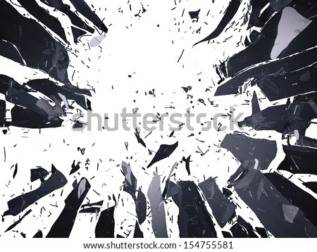 Many pieces of shattered glass isolated over white background. Large resolution - stock photo