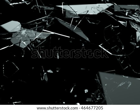 Many pieces of shattered glass over black. Large resolution 3d or cg render