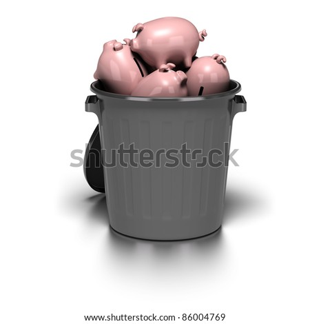 many piggy banks inside a grey garbage can. image is over a white background with reflection - stock photo