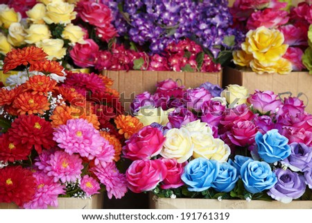many plastic flower in thailand - stock photo