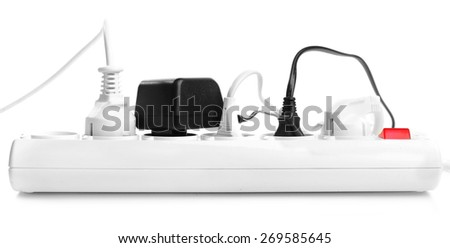 Many plugs plugged in extension cord isolated on white - stock photo