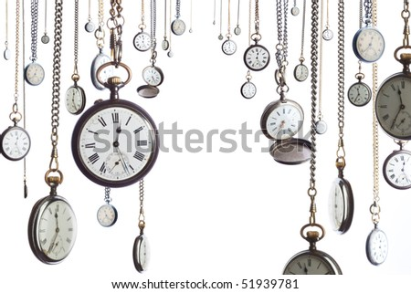 Many pocket old style clocks on watch chain - stock photo