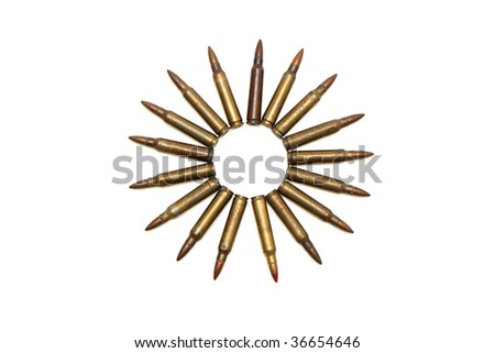 Many-pointed star of M16 cartridges isolated - stock photo
