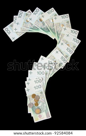 Many polish zloty banknotes in question mark symbol and coins lying on paper money, objects isolated on black background, vertical orientation, nobody. - stock photo