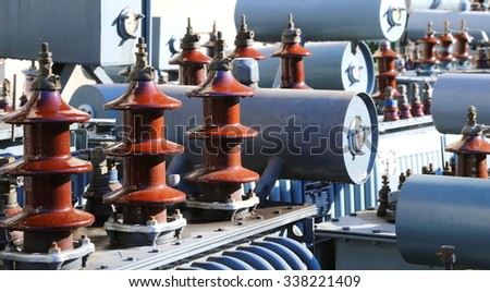 many pollutants decommissioned transformers of substations - stock photo