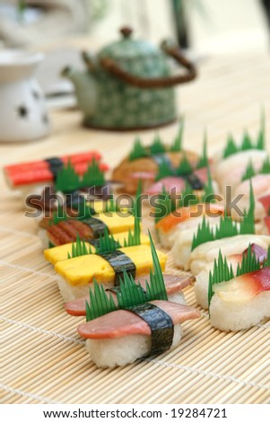 many prepared and delicious sushi
