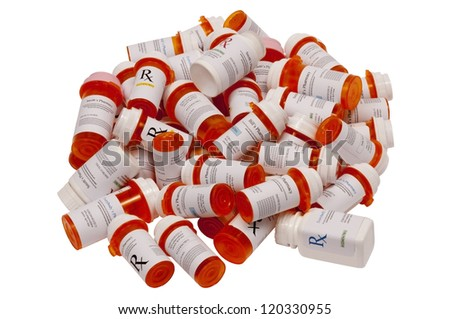Many Prescription Bottles - stock photo