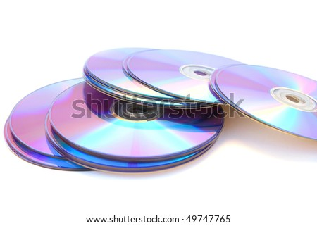 Many printable dvds isolated on white. - stock photo