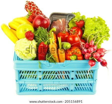 Many products in shopping basket isoleted on white background