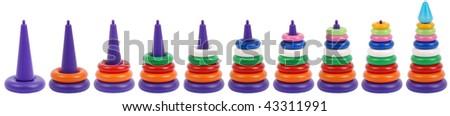 Many pyramid toy isolated on white background - stock photo