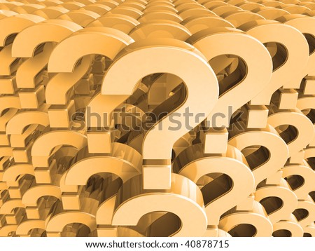 many question - yellow background - stock photo