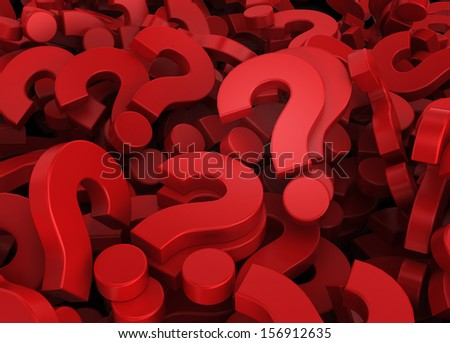 Many questions. 3d illustration - stock photo