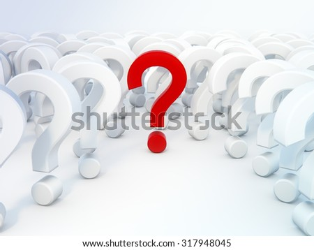 many questions 3d render on white background