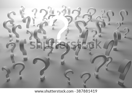 Many questions,This is a computer generated and 3d rendered picture. - stock photo