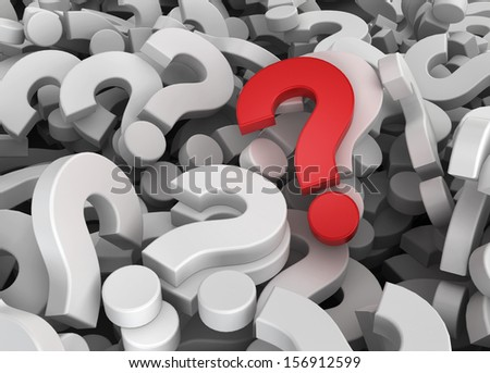 Many questions with unique one. 3d illustration - stock photo