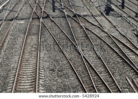 Many Railway Tracks In Front Of A Train Station