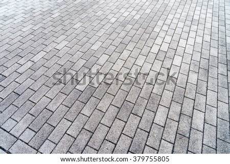 many rectangular paving stones / paving stones - stock photo