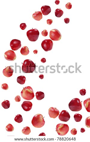 many red apples on white  background - stock photo