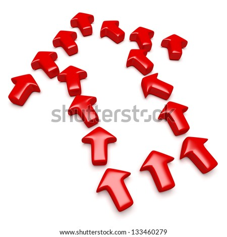 Many red arrows arranged in the shape of a single arrow to symbolize a mutual objective, cooperation... Computer generated image with clipping path - stock photo