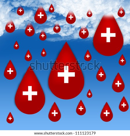 Many Red Blood Drop With White Cross Sign As Rain Drop in Blue Sky Background For Blood Donation Concept - stock photo