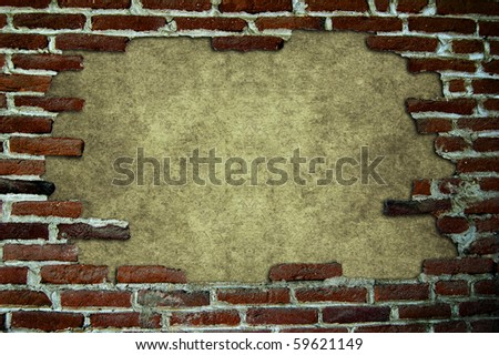 Many red brick posed to form a frame