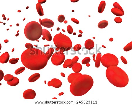 Many red erythrocytes. Isolated on white background - stock photo