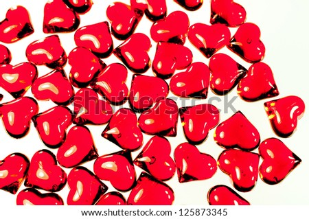 Many red hearts on withe background - stock photo