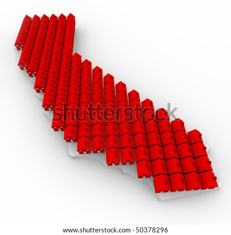 Many red houses cover a map of California state - stock photo