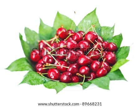 Many red wet cherry fruits (berries) on green leaves in round plate, isolated on white