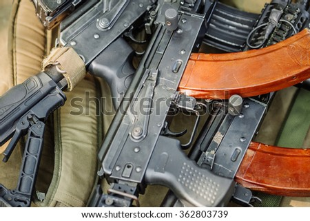 many rifle weapons after the battle  - stock photo