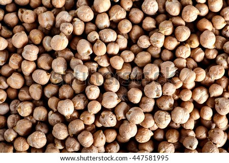 Many ripe peas chickpeas background, the main ingredient of hummus and other dishes. Top view - stock photo