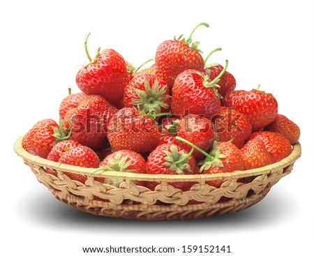 many ripe strawberry in a basket-dish