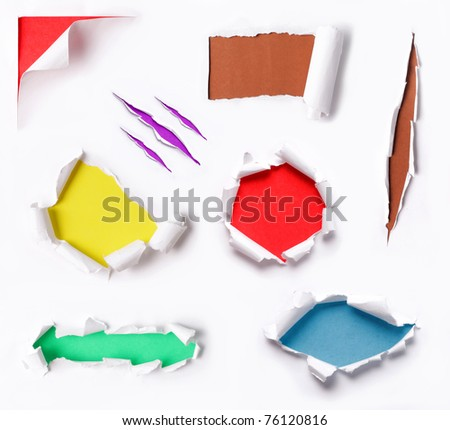 many ripped paper with many different background color - stock photo