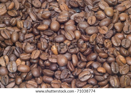 Many roasted coffee beans as background closeup