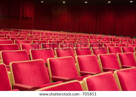 Many rows of seats in this theater - stock photo
