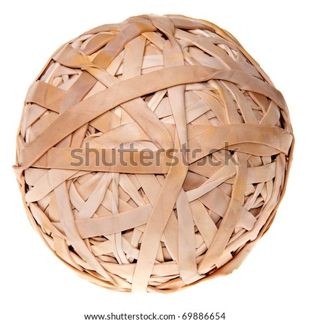 Many rubber bands in a big ball tightly together - stock photo