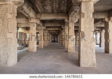 Many ruined columns as a perspective objects - stock photo