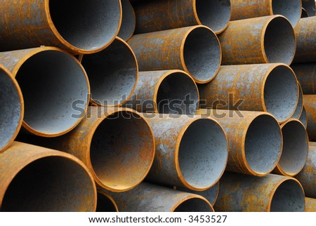 Many rusty pipes of Russian factory 6 - stock photo