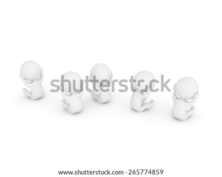 Many Sad 3D Characters  - stock photo